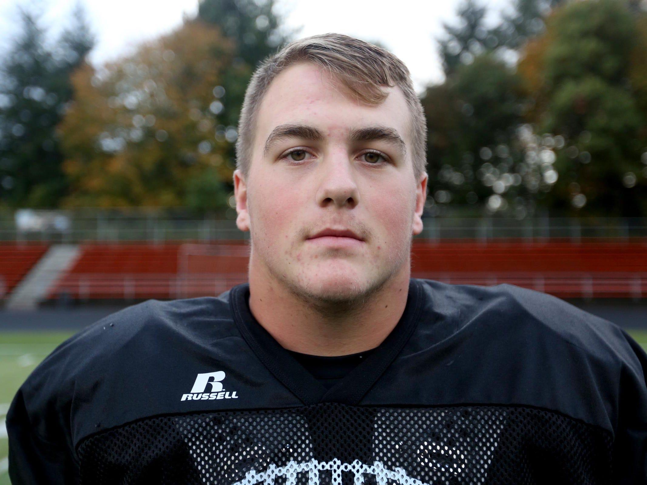 Senior Tanner Sorensen, of the Sprague High School football team, photographed on Wednesday, Oct. 5, 2016.