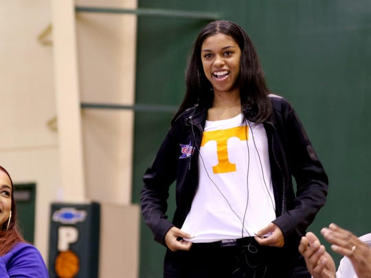 Evina Westbrook reveals her decision to sign a letter of intent to play basketball for the University of Tennessee. The South Salem senior has been named the best female guard in the country by ESPN. Photographed at The Hoop in Salem on Thursday, Nov. 10, 2016.