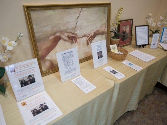"Information material on display during the Salt Lake Interfaith Roundtable's ""Generosity of Faith Fair"" open house at the Center for Spiritual Living in South Salt Lake on Monday, Feb. 19, 2018."