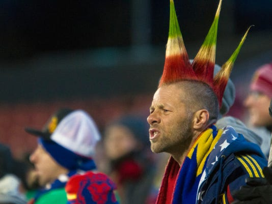 Randolf Scott yells toward the field during Real Salt Lake's matchup against the New York Red Bulls in an MLS soccer game in Sandy, Utah, Saturday, March 17, 2018. (Jacob Wiegand/The Deseret News via AP)