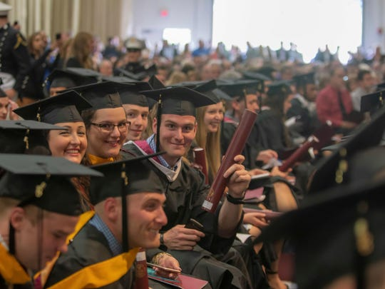 Members of the Norwich University Class of 2018 at Saturday's commencement.