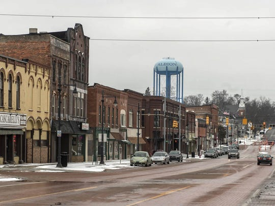 In this Feb. 11, 2019 photo, Superior Street in downtown Albion, Mich., is shown.