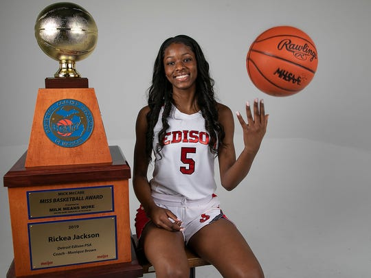 Rickea Jackson from Detroit Edison was named the 2019 Miss Basketball Monday, March 18, 2019 at the Detroit Free Press. Mandi Wright, Detroit Free Press