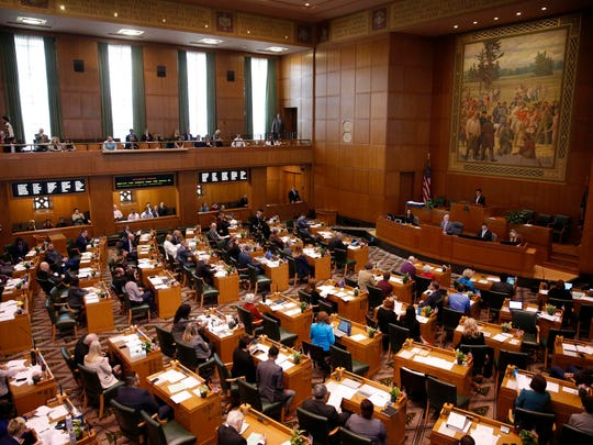 The House of Representatives convenes on the first day of the short legislative session at the Oregon State Capitol in Salem on Monday.