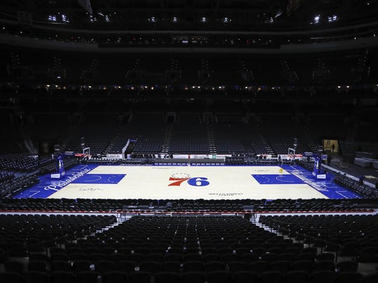 The Wells Fargo Center is empty after the Sixers' most recent game against the Pistons on March 11.
