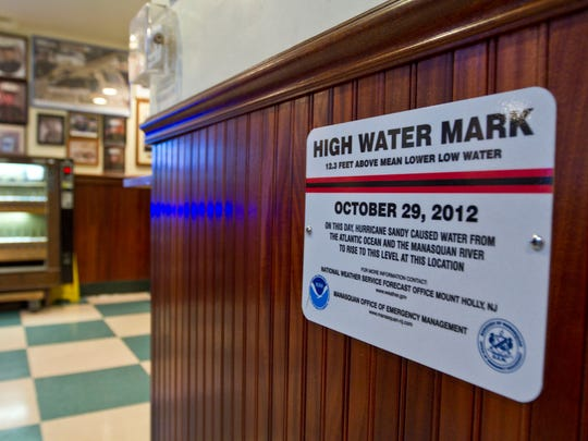 Water level mark at Leggetts in Manasquan that shows the high water mark during the surge of superstorm Sandy.