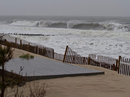 Large ocean waves, wind and rain batter the coast on Nov. 1 in Bay Head.