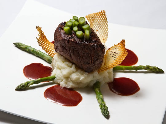Filet mignon with cabernet reduction, mashed potato and asparagus at Scarborough Fair in Sea Girt.
