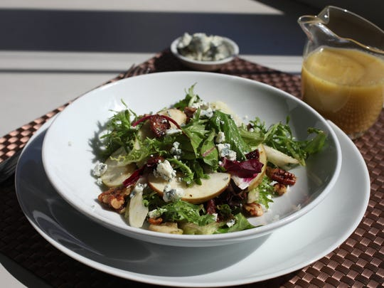 Try Apple and Fennel Salad dressed with Carmelized Apple Vinaigrette and adorned with blue cheese crumbles.