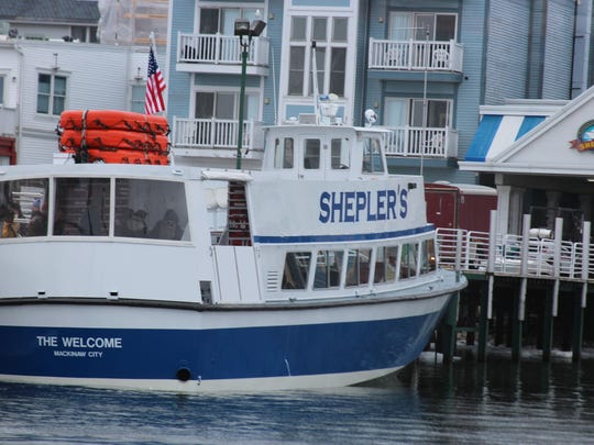 A boat for the Shepler's line that transports people and goods from Mackinac Island to St. Ignace and Mackinaw City on May 1-2, 2014.