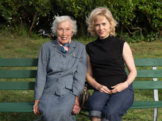 """Artist Margaret Keane, left, with Amy Adams in costume for her role as Keane in """"Big Eyes."""""""