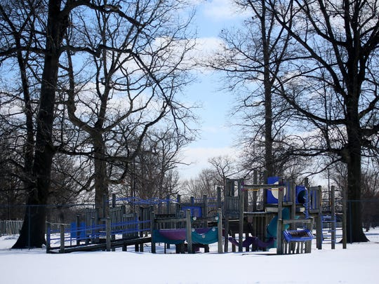 A playscape at Chandler Park on Detroit's east side waits for kids to return. A conservancy group will give $20 million to make over the 200-acre park.