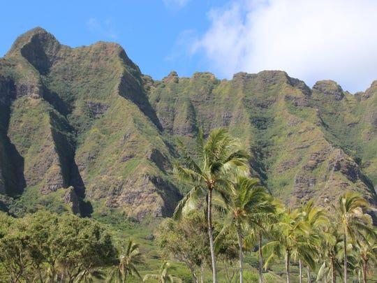 A quiet day at Kualoa Regional Park in Oahu, Hawaii.