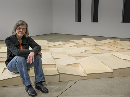 """Coco Bruner and her installation """"Normal Shift"""" at the Museum of Contemporary Art Detroit."""