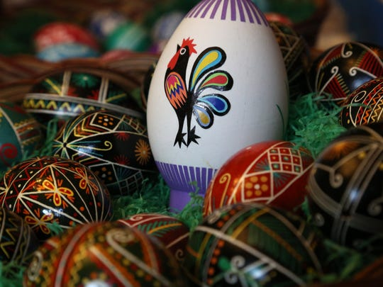 Another of Marcia Lewandowski's Easter egg artwork. She will sometimes spend seven hours or more straight, working on eggs.