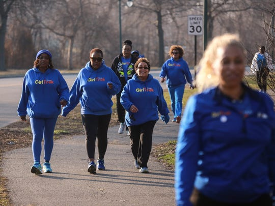 A group of women participate in a walk earlier this