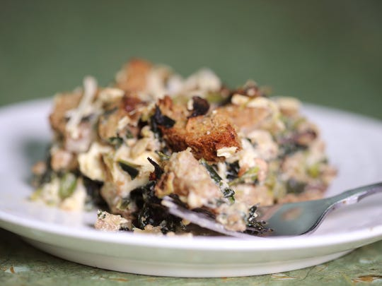Try Savory Vegetable Bread Pudding with mushrooms and spinach for a hearty vegan dinner entrée.