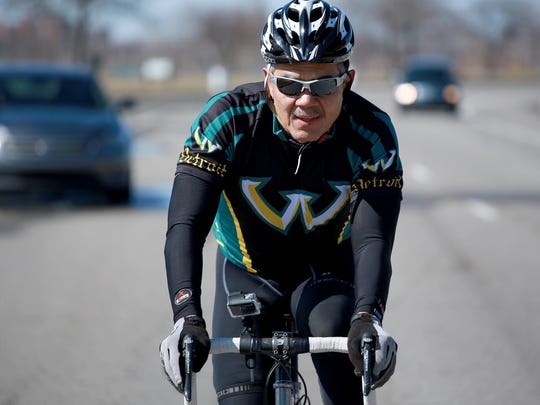 Wayne State University President M. Roy Wilson goes cycling at Belle Isle park in Detroit to promote the upcoming charity bike ride, the Baroudeur on Saturday, April 4, 2015. The Baroudeur is Wayne State University's inaugural cycling event on Aug. 22, 2015.