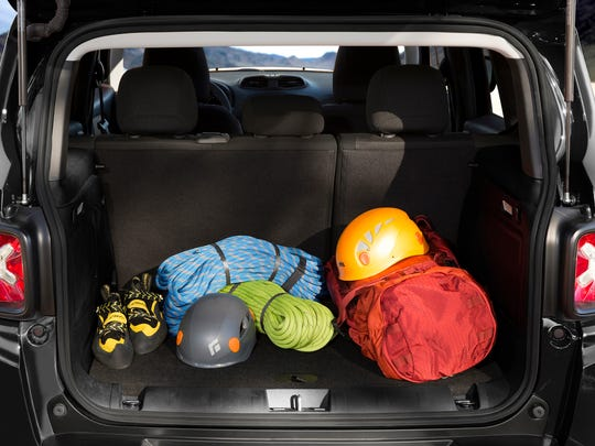 The Renegade boasts best-in-class cargo room of 50.8 cubic feet. The removable roof panels can be stored flat behind the rear seats.