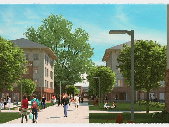 An artist's rendering of the upperclassmen apartments at Douthit Hills