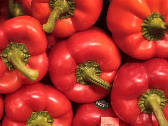 Organic red bell peppers from Mexico are for sale at Whole Foods in Carmel.