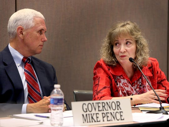 Gov. Mike Pence and Superintendent of Public Instruction Glenda Ritz lead the Indiana Education Roundtable meeting June 23 at the Indiana Government Center in Indianapolis.
