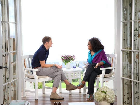 "Rev. Rob Bell being interviewed by Oprah on a book that attracted him to her attention, ""What We Talk About When We Talk About God"". The show kicked off her Super Soul Sundays series last year."