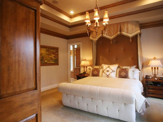 This is a view of the first-floor master bedroom suite of this Novi home located at 48090 Ravello Court.
