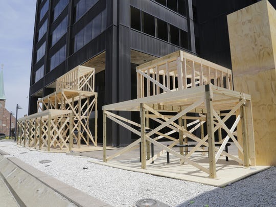"""Set construction begins at Howard and Sixth Streets in Detroit for Batman V Superman: Dawn of Justice, Friday, June 26, 2014. """"Batman v. Superman"""" was given the OK for $35 million in incentives on an anticipated $131 million in Michigan spending"""