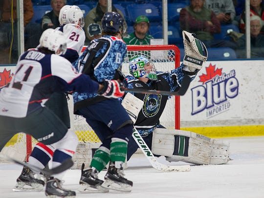 Neatly snagging this Windsor shot Saturday night is Plymouth goaltender Alex Nedeljkovic. The Whalers donned specially designed jerseys for both games played during Military Appreciation Weekend at Compuware Arena.