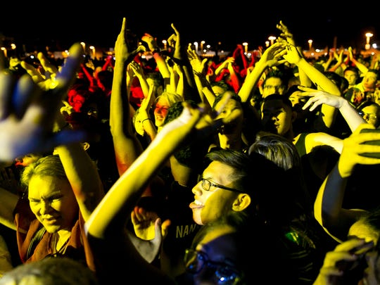 The crowd reacts as CLASSIXX performs during Tachevah: A Palm Springs Block Party.