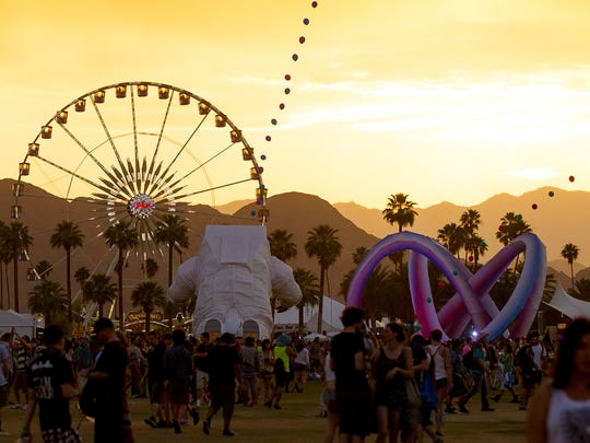 The ferris wheel is photographed during sunset at Coachella Valley Music & Festival Weekend 2 held at Empire Polo Club in Indio on April 18, 2014.