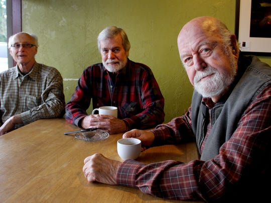 From left, Michael Murphy, Ed Barraclough, and Charles Baldwin meet for coffee at Gear-Up Espresso in Silverton on Saturday, Jan. 10, 2015. They have formed a citizen's committee with recommendations on how to make Silverton more bike-friendly.
