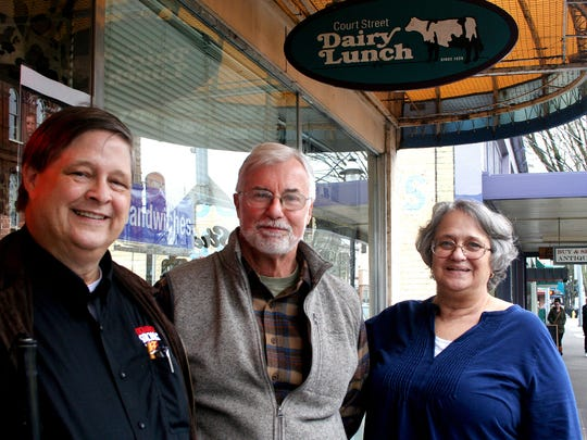 From left to right, John Hammill, Ed Hallett, and Sue Hammill of the Exchange Club of Salem will take a time-travel trip back to April 1865 to meet Abraham Lincoln during their upcoming event at Broadway Commons.