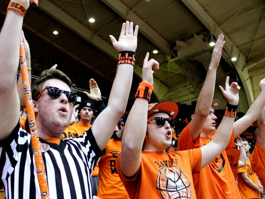 "Oregon State student fans Clay Messerle (from left), Connor Pratt, Newton Allred and Collin Bates, cheer for their Beavers before the start of the Oregon vs. Oregon State ""Civil War"" men's basketball game in Corvallis on Wednesday, March 4, 2015."