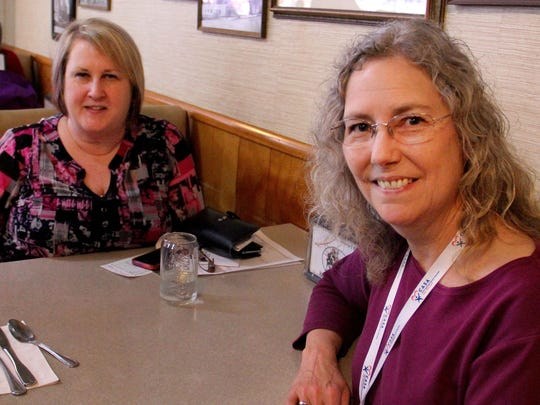 From left, Gayle Wood and Shelley Sneed were at Holding Court at the Court Street Dairy Lunch in downtown Salem on Tuesday to talk about CASA of Marion County, and its upcoming children's playhouse raffle.