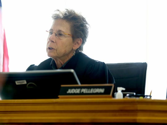 Judge Cheryl Pellegrini speaks Tuesday, March 31, at the trial of Andrew James Slover at the Marion County Courthouse..