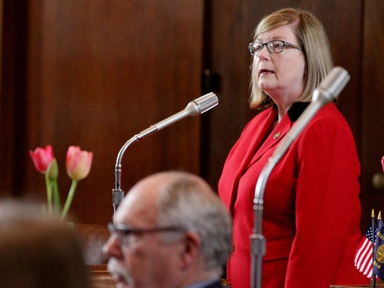 Sen. Diane Rosenbaum speaks during a Senate floor session