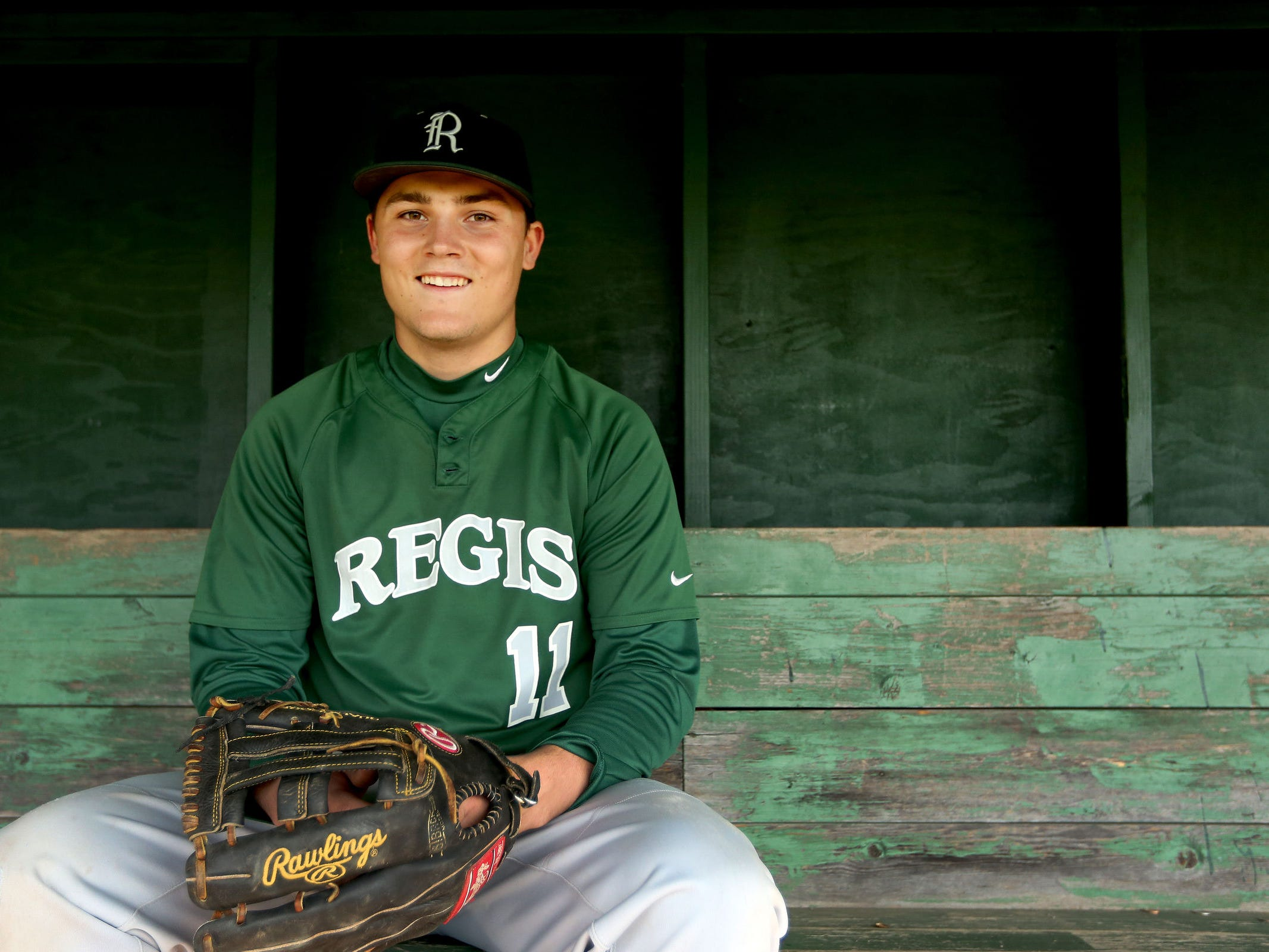 Senior Blake Minten is an all-state player in football, basketball and baseball. Photographed on the baseball field at Regis High School in Stayton, Ore., on Thursday, April 2, 2015.