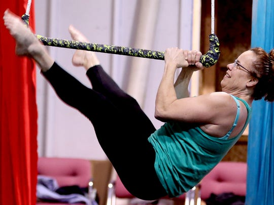 Instructor Jennifer Howes demonstrates a move during