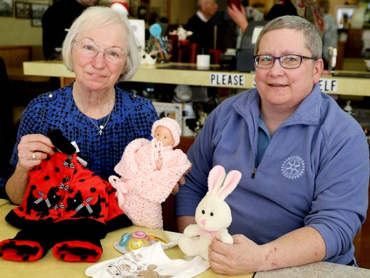 Mary Cooper, left, and Carol Gleason of the Salem Sunset Rotary club need the public's help to raise supplies for the 10th annual Community Baby Shower on May 2.