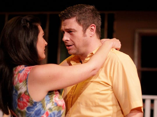 """Holly Beaman, as Ann, and David Ballantyne, as Chris, rehearse for Arthur Miller's """"All My Sons"""" at Pentacle Theatre. The play will run April 17-May 9."""