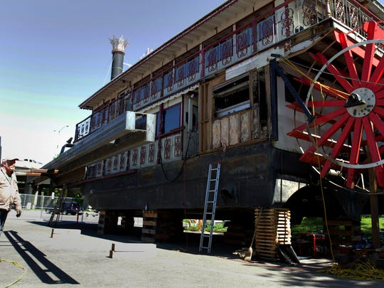 A 35-foot steel support girder will be installed on the port side of the Willamette Queen while repairs are being done following a Coast Guard dry inspection at Wallace Marine Park in West Salem on Friday, April 17, 2015.