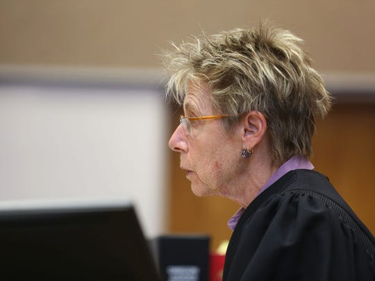 Judge Cheryl Pellegrini speaks during the sentencing of Andrew Slover, 24, of Salem, at the Marion County Courthouse in downtown Salem on Thursday, April 23, 2015. Slover was sentenced to life in prison, with the eligibility for parole after 25 years, for murder and first-degree robbery.