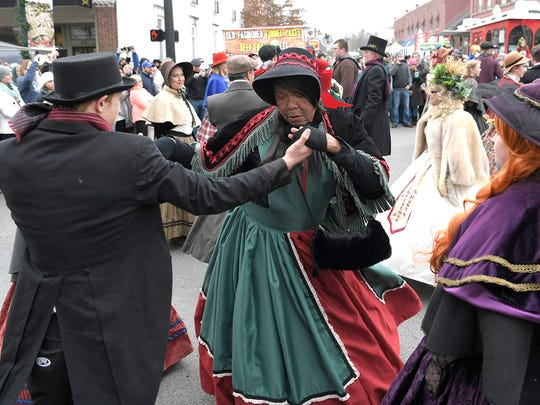 Flat Creek Dancers perform during the 33rd Annual Dickens of a Christmas in downtown Franklin, Tenn. on Saturday, Dec. 9, 2017.