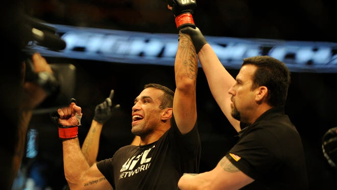 Fabricio Werdum celebrates a victory in his heavyweight fight in April