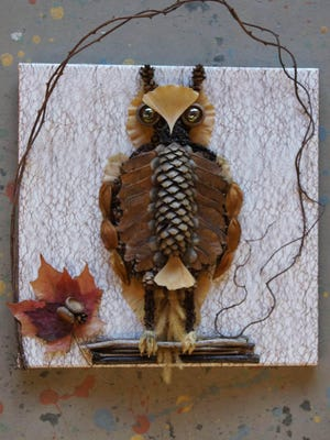 """Owl"" by artist Charlene Yelle was created for the Seacoast Artist Association's Mystery Kit fundraiser in 2018. SAA is now holding its 2020 fundraiser. Pay $25 for a Mystery Kit and use only its contents to produce an artwork that will be exhibited at SAA."