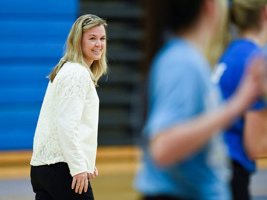 Kimball Volleyball head coach Tabitha Mortenson watches