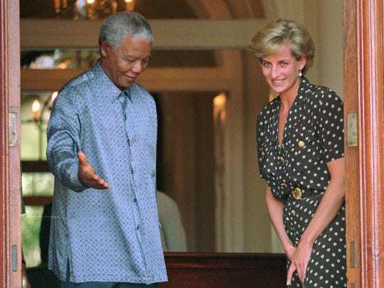 South African President Nelson Mandela and Princess Diana met in Cape Town on March 17, 1997.