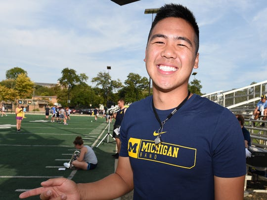 University of Michigan Marching Band drum major Kevin